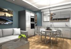 Mieszkanie wzorcowe na osiedle Lokum Vena - salon z aneksem kuchennym
