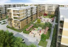 Mieszkania we Wrocławiu, Stare Miasto, ul. Tęczowa - dziedziniec z placem zabaw i fontanną, Etap II